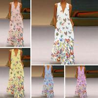 Plus Size Lady Bohemia Dress Sleeveless Butterfly Print Summer V Neck Long Dress