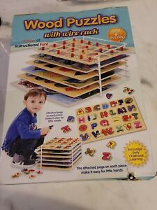 Products Wooden Puzzles For Toddlers, Puzzle Rack, 6 Pack