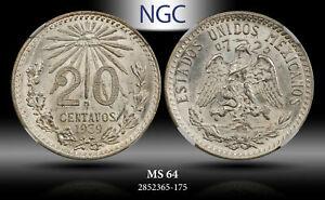 1939-Mo MEXICO SILVER 20 CENTAVO NGC MS 64!!
