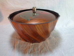Japanese Wood Lacquer Bowl with Lid Vintage Round Brown Grain Unique