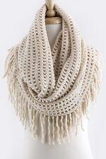B66 Long Fringe Open Weave Knit Ivory  Double Infinity Scarf Boutique