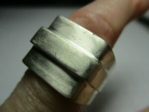 STERLING SILVER ESTATE VINTAGE GUCCI SQUARE EDGED TAPERED SOLID BAND RING SIZE 5