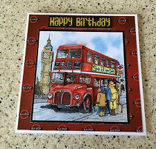 "Handmade Birthday 3D decoupage card london red bus driver double decker 6"" x 6"""