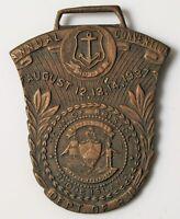 RARE ANTIQUE RHODE ISLAND ANNUAL CONVENTION DEPT OF RI 37' BRISTOL BRASS KEY FOB