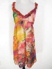Boston Proper Silk Dress Sz 12 Empire Waist Ruffle Trim Pink Green Yellow Floral