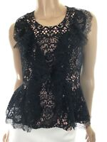 Alexis New Sleeveless Black Lace Top Blouse Pink Lining Size XS Ruffle Accent