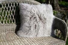 Kissen Hülle Tibet Lammfell 30x30 cm cozy grey Mongolisches Schaffell Tibetfell