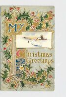 PPC POSTCARD CHRISTMAS GREETINGS HOLLY GOLD NATIONAL ART CO. EMBOSSED