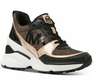 Michael Kors MICKEY Trainer Glitter Rose Gold Wedges Sneakers Shoes Flats 8.5