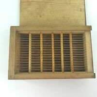 Vintage Wood Box Numbered Lettered Slots w Metal Dividers Sliding Lid Box Joints