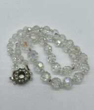 Beaded Necklace With Pretty Clasp Vintage Art Deco Faceted Clear Glass