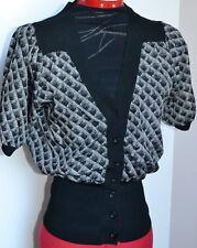 PORTMANS Ladies Black & Grey Deep V Neck Silky Cardigan Elbow Sleeves Size 10