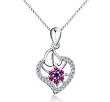 925 Sterling Silver Emerald Micro Pave CZ Crystal Heart Love Pendant Necklace A2