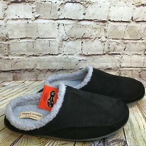 Deer Stags Slipperooz Men's Black Wide Fit Lined Moccasin Slippers Size 13 W