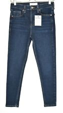 Topshop High Rise JAMIE Skinny Dark Blue Stretch Ankle Crop Jeans 10 W28 L30