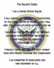 """US Navy Creed Printed Fabric Block for Quilting or Applique  8"""" x 10"""""""