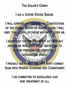 """US Navy Creed Printed COTTON Fabric Block for Quilting or Applique  8"""" x 10"""""""