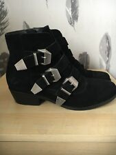 Topshop Black Buckle Ankle Boots Size 3 36