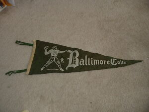 1940's AAFC or 1950 Baltimore Colts Football Pennant with Quarterback