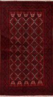 Geometric Hand-Knotted Balouch Afghan Area Rug Living Room Oriental Carpet 4'x6'