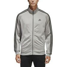 Mens Adidas Essentials 3S Front Zip Track Jacket Grey Black BS2226 Size Large
