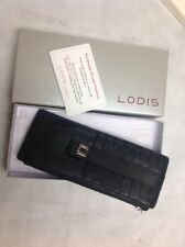 Lodis Black/Silver Leather Credit Card Stacker Wallet Insert - NWOT w/box RFID