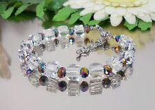 DESIGN GLANZ Armband Kristall GLAS Würfel + Glas Rondelle bunt + Edelstahl