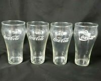 "4 Vintage Coca-Cola ""The Heritage Glass"" Clear White Enjoy Coke Glasses 5"" Tall"