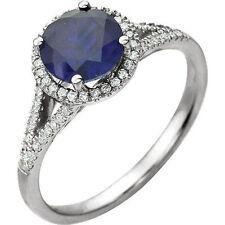 Diamante & SINTETICO ZAFFIRO BLU anello pietra zodiacale in 14k oro bianco (1/5