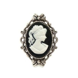 Victorian Gothic Black and White Cameo ring, silver steampunk wedding goth