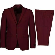 Victorio Couture Men's Burgundy 2 Button Slim Fit Poplin Polyester Suit NEW