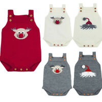 Newborn Infant Baby Sleeveless Christmas Knitted Romper Jumpsuit Clothes S9