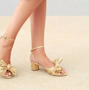LOEFFLER RANDALL - DESIGNER SHOES - DAHLIA KNOT MULE WITH ANKLE STRAP IN GOLD