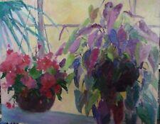 oil painting Hanging Pots original floral P.Hamilton 24x30 landscape stilllife