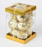 12 Gold Glitter Christmas Tree Decorations Baubles Soft Foam Xmas Home Decor