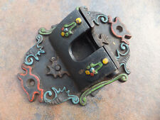 Vintage Wall Hanging Black Cast Iron Match Holder Painted Decorated