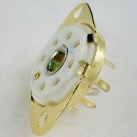 4pc gold 8pin Ceramic vacuum tube socket loctal for 5B254 audio amp DIY guitar