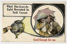 ANTIQUE ROMANTIC GREETINGS POSTCARD COUPLE LADY MAN SPOTLIGHT UMBRELLA HAND 1914