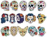 SUGAR SKULLS LAMINATED STICKER SET A5 SIZE day of the dead laptop Guitar Skull
