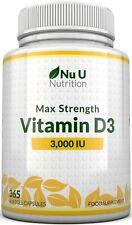 Vitamin D3 3,000 IU 365 Softgels, 1 Year 3000iu Triple Strength High Absorption