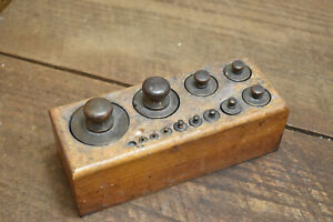 L487- Antique Wood Block Apothecary Gram Solid Brass Weight Set 2g to 1000g