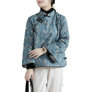 Chinese Style Women's Quilted Warm Cheongsam Jacket Tops Floral Thick Outwear L