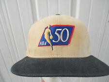 VINTAGE NEW ERA X NBA 50th ANNIVERSARY1996 BEIGE SNAPBACK CAP HAT NEW W/ TAG IBM
