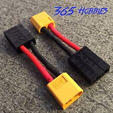 QTY-(2) Male XT60 to Female TRX Traxxas Connector Adapter Zippy Revo Slash LiPo