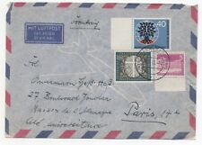 1960 GERMANY Air Mail Cover OFFENBACH to PARIS FRANCE Gutter