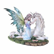 Fairy Princess With Unicorn Statue Flower Meadow Figurine Pure White Mystical