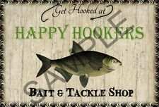 Vintage Wooden Sign Bait and Tackle Shop Happy Hookers Crackle Faux Distressed