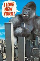 NY I LOVE NEW YORK c1970 WORLD TRADE CENTER & King Kong Vintage 6x9 postcard