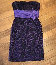 Betsey Johnson Evening Prom Cocktail Dress Purple Burnout Floral Silk Blend So 8