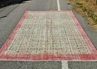 Oriental Anatolian Carpet Turkish Vintage Hand Knotted Bohemian Area Rug 7x10 ft
